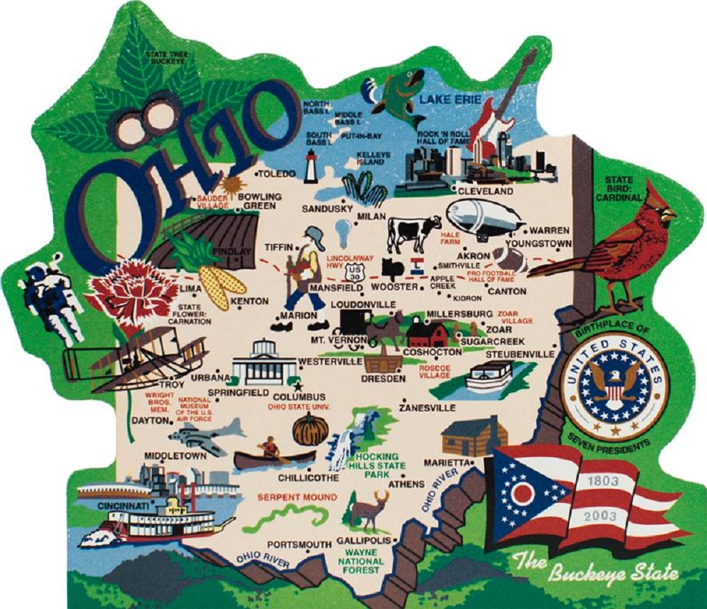 Ohio State Keepsake Wooden Map